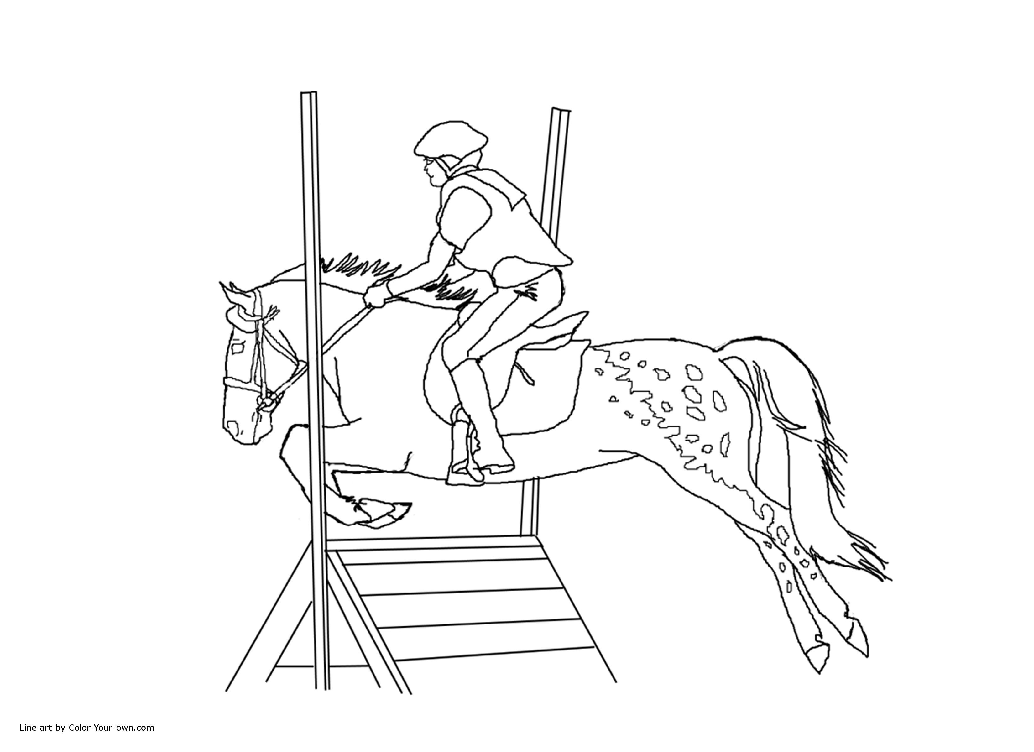 3300x2400 New Coloring Pages Horses Jumping