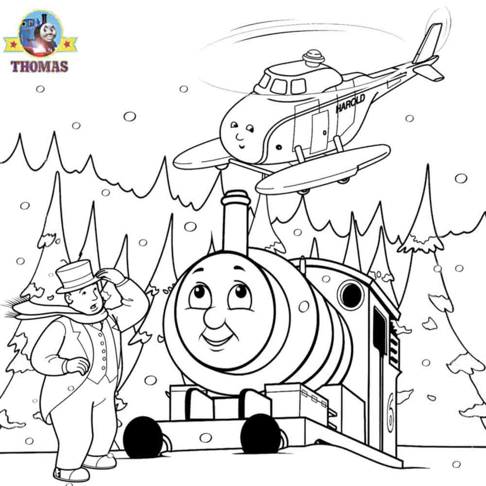1000x1000 Thomas The Tank Engine And Harold Helicopter Coloring Pages