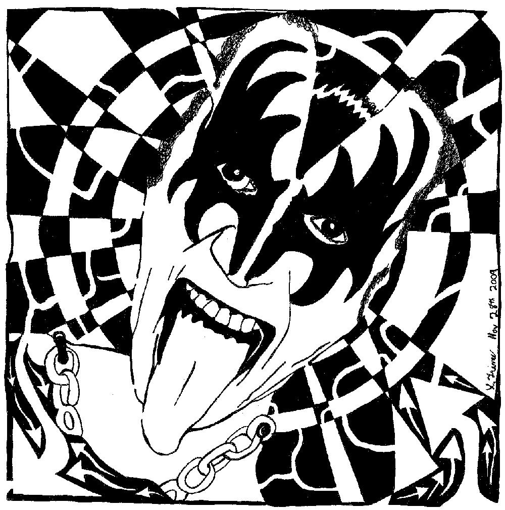 1000x1009 Gene Simmons, Kiss, Maze, Maze Portrait, Maze Art Coloring Book