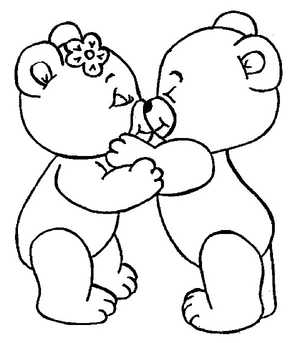 600x686 Love Pictures To Color Cute Bear Kissing I Love You Coloring Pages