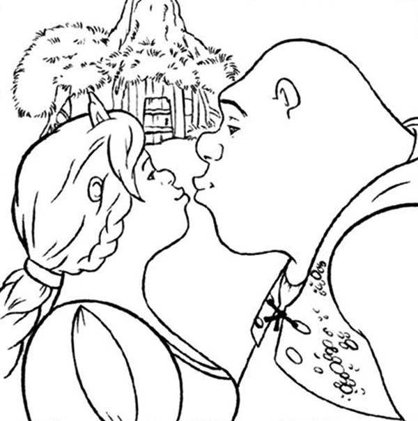 600x604 Shrek And Princess Fiona Kissing Coloring Page Color Luna