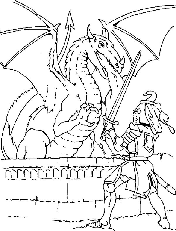 600x788 Free Coloring Pages Knights And Dragons Bgcentrum