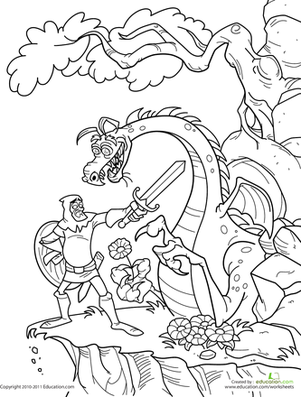 301x397 Knights And Dragons Coloring Pages