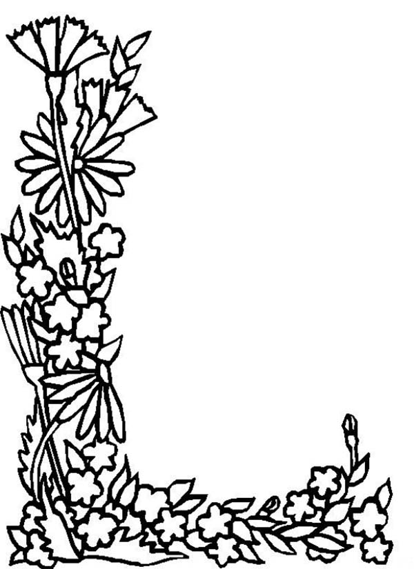 600x825 Alphabet Flowers Letter L Coloring Pages Batch Coloring