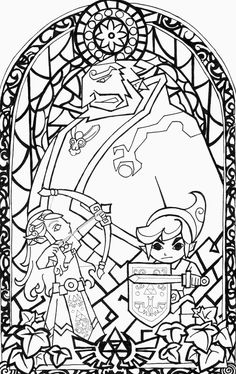 236x374 Awesome Stained Glass Zelda Coloring Page! Gonna Try This