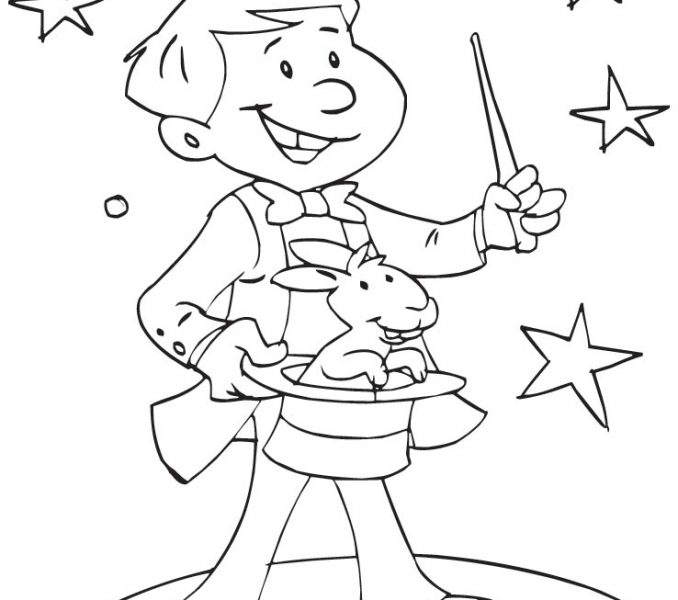 678x600 Magic Coloring Pages A Young Magician Showing Magic Coloring Page