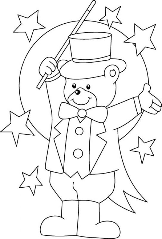 544x800 Teddy Bear Magician In Printable Circus Coloring Pages Fun