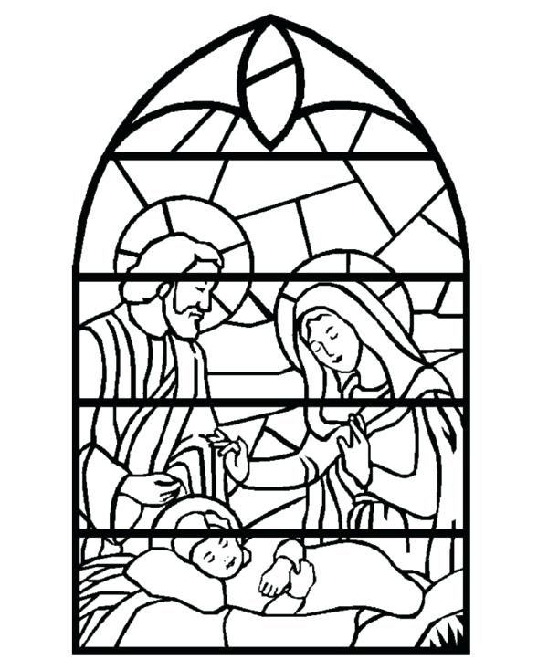 600x734 Stained Glass Window Coloring Page Stained Glass Window Printable