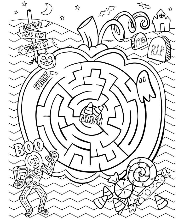 768x912 Halloween Maze Coloring Pages