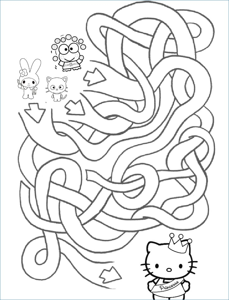 736x962 Hello Kitty Christmas Letter Maze And Coloring Page