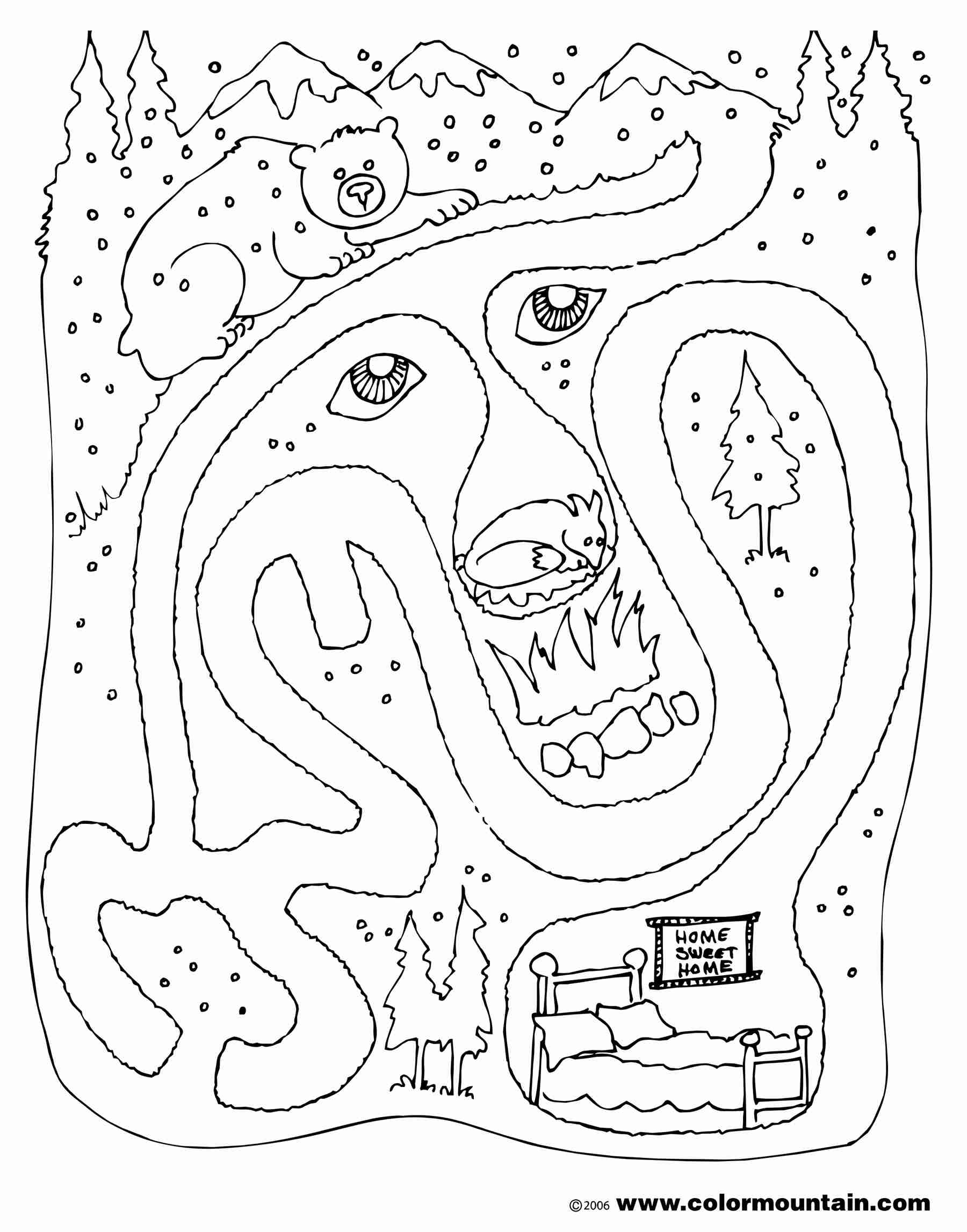 1800x2294 Hibernating Animal Coloring Pages Bear Maze Activity Color Page
