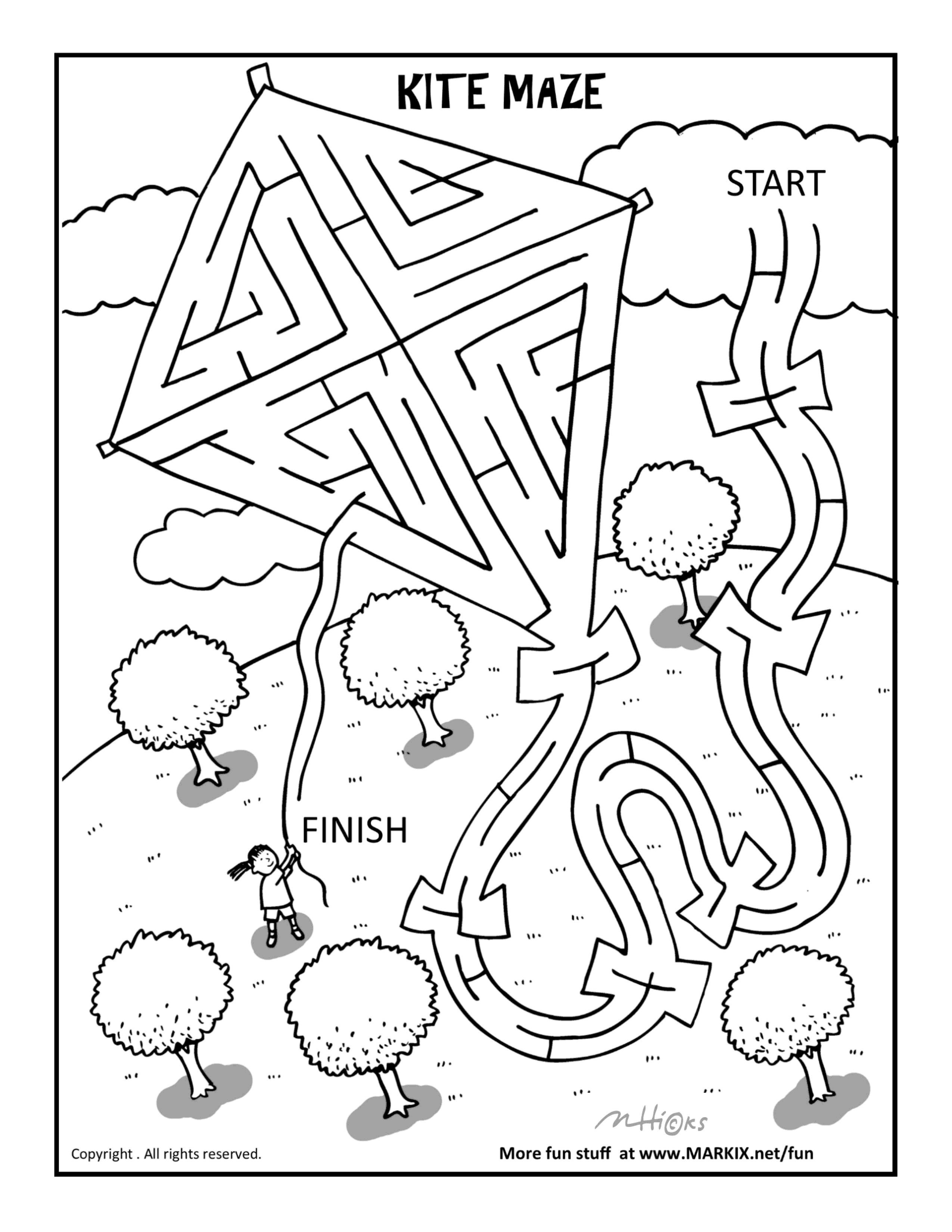 2550x3300 Kite Maze And Coloring Page Fun Printable Coloring Activity