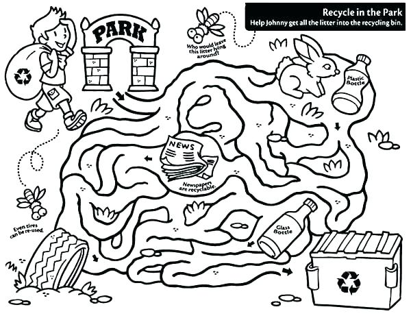 600x464 Maze Coloring Pages Maze Coloring Page Recycling Coloring