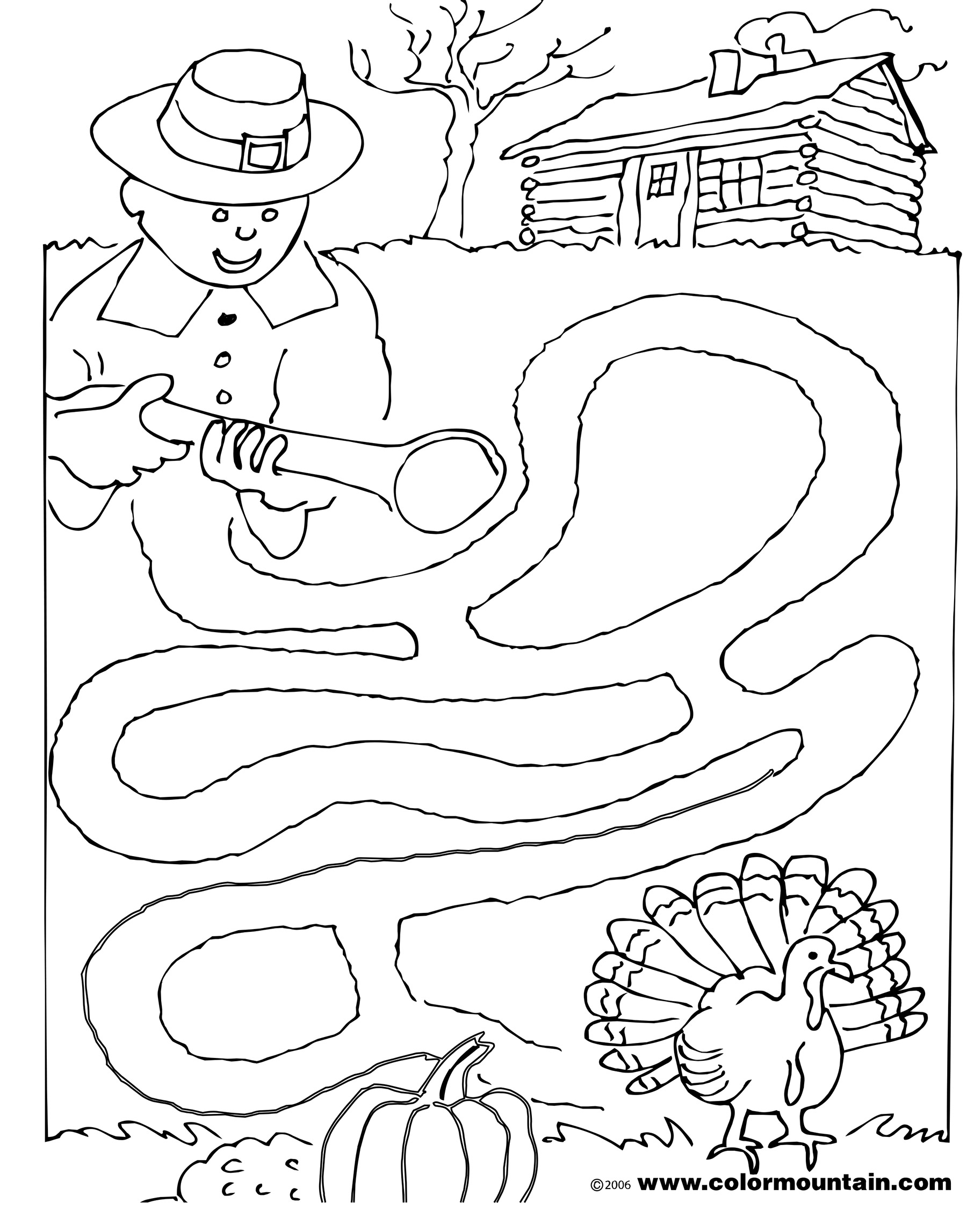 1800x2294 Maze Thanksgiving Coloring Pages