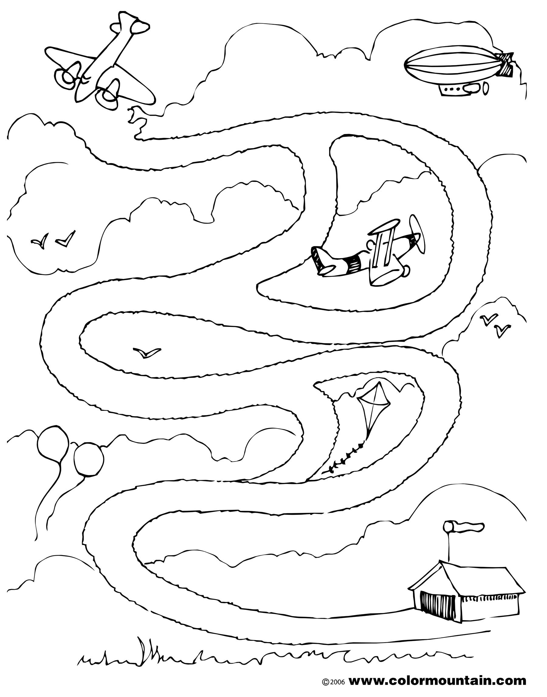 1800x2294 Airplane Maze Activity Page Coloring Page Mazes
