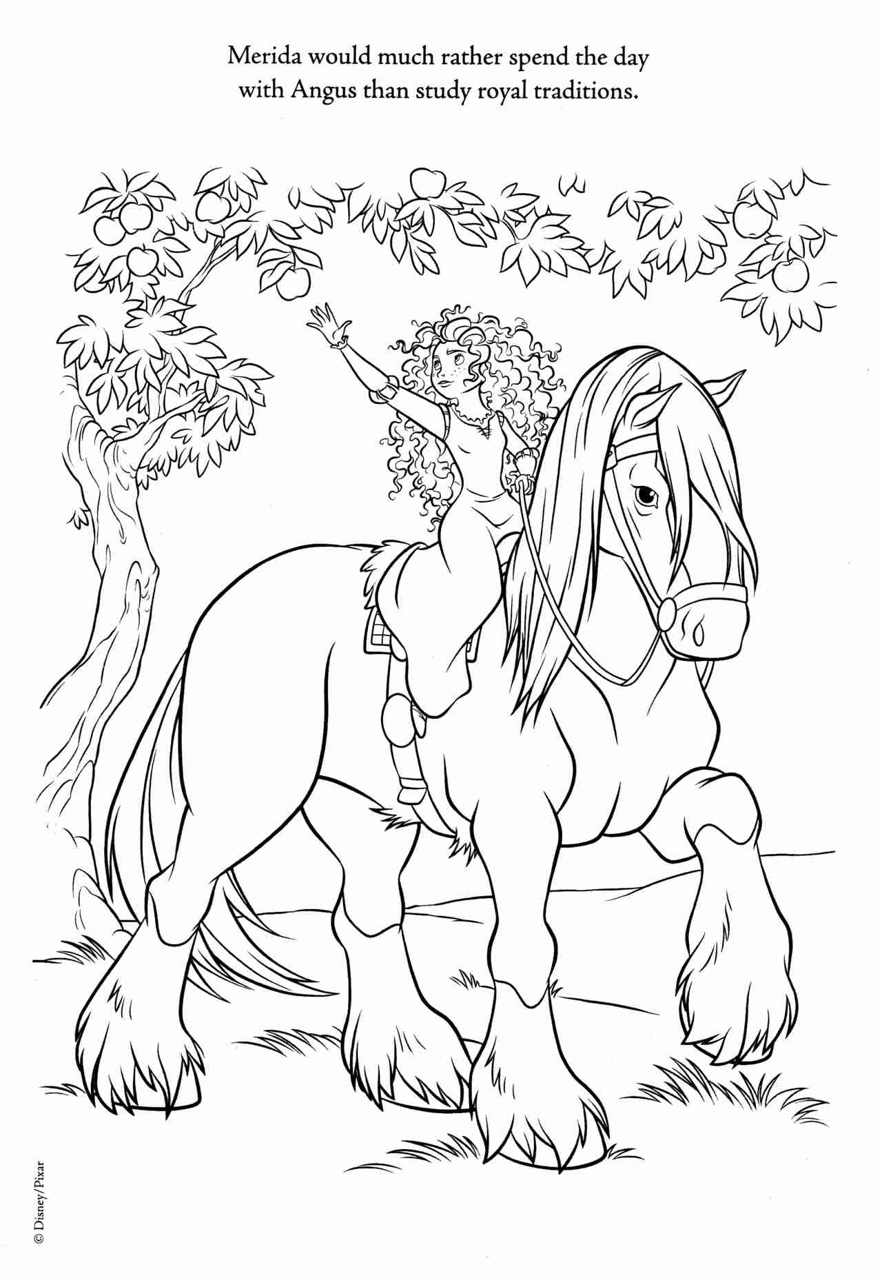 1280x1857 Brave Coloring Page Of Merida And Her Horse Angus Omalovanky