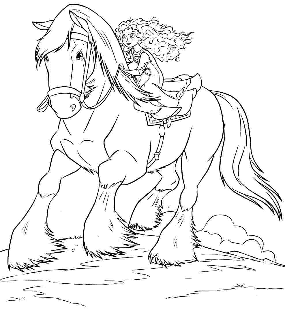 988x1074 Brave Coloring Pages Merida Riding Angus With Disney Images