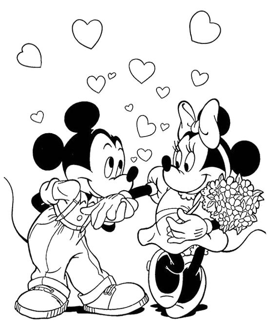 550x660 Mickey And Minnie Colouring Pages