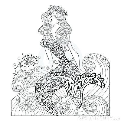 400x400 Adult Mermaid Coloring Page Fantastic Mermaid In Sea Waves