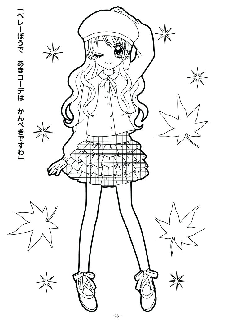 736x1040 Easy Coloring Pages For Girls Cute Adorable Coloring Cartoon Girl