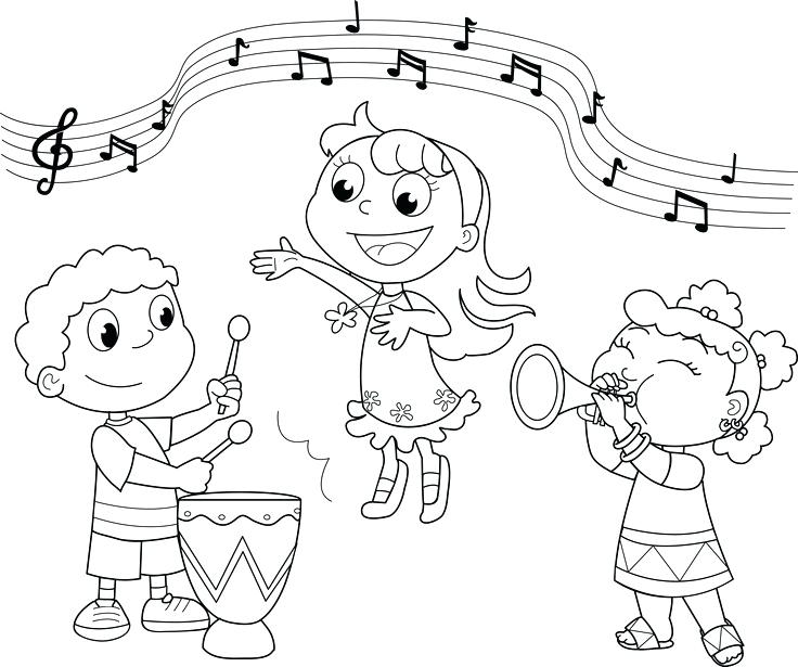 736x615 Music Coloring Page Music Coloring Pages Kids Playing Music Color