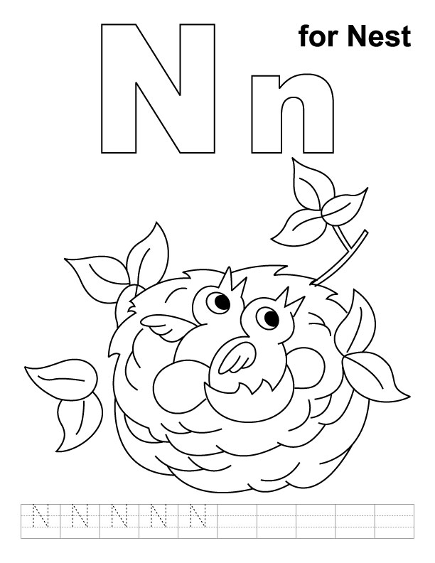 612x792 N Coloring Page N For Nest Coloring Page With Handwriting Practice