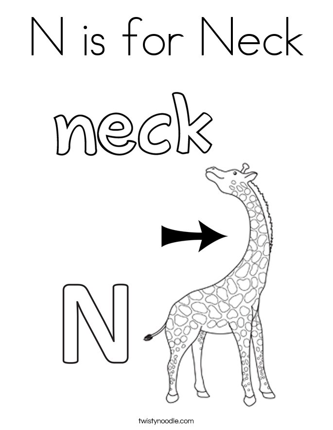 685x886 N Is For Neck Coloring Page