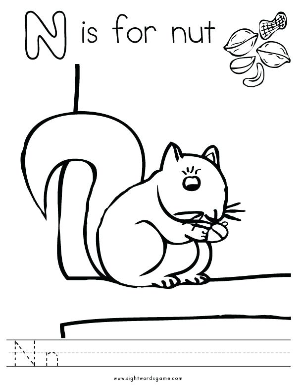 612x790 Alphabet Book Coloring Sheets Letter N Coloring Page Coloring