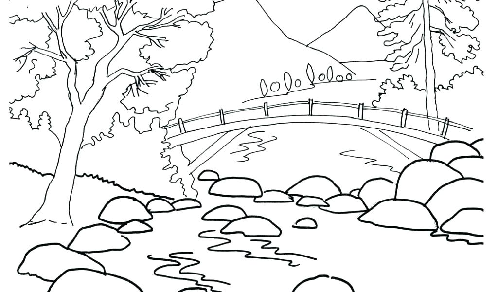 1024x600 Coloring Pages Nature Nature Scene Coloring Pages Nature Scene
