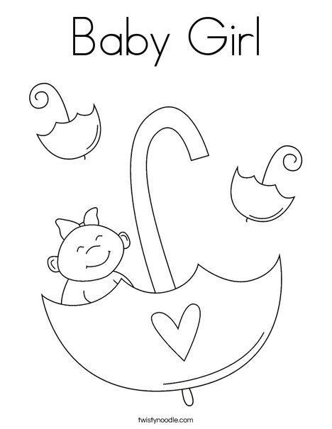 468x605 Baby Girl Coloring Page