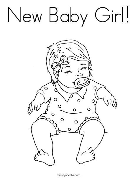 468x605 New Baby Girl Coloring Page