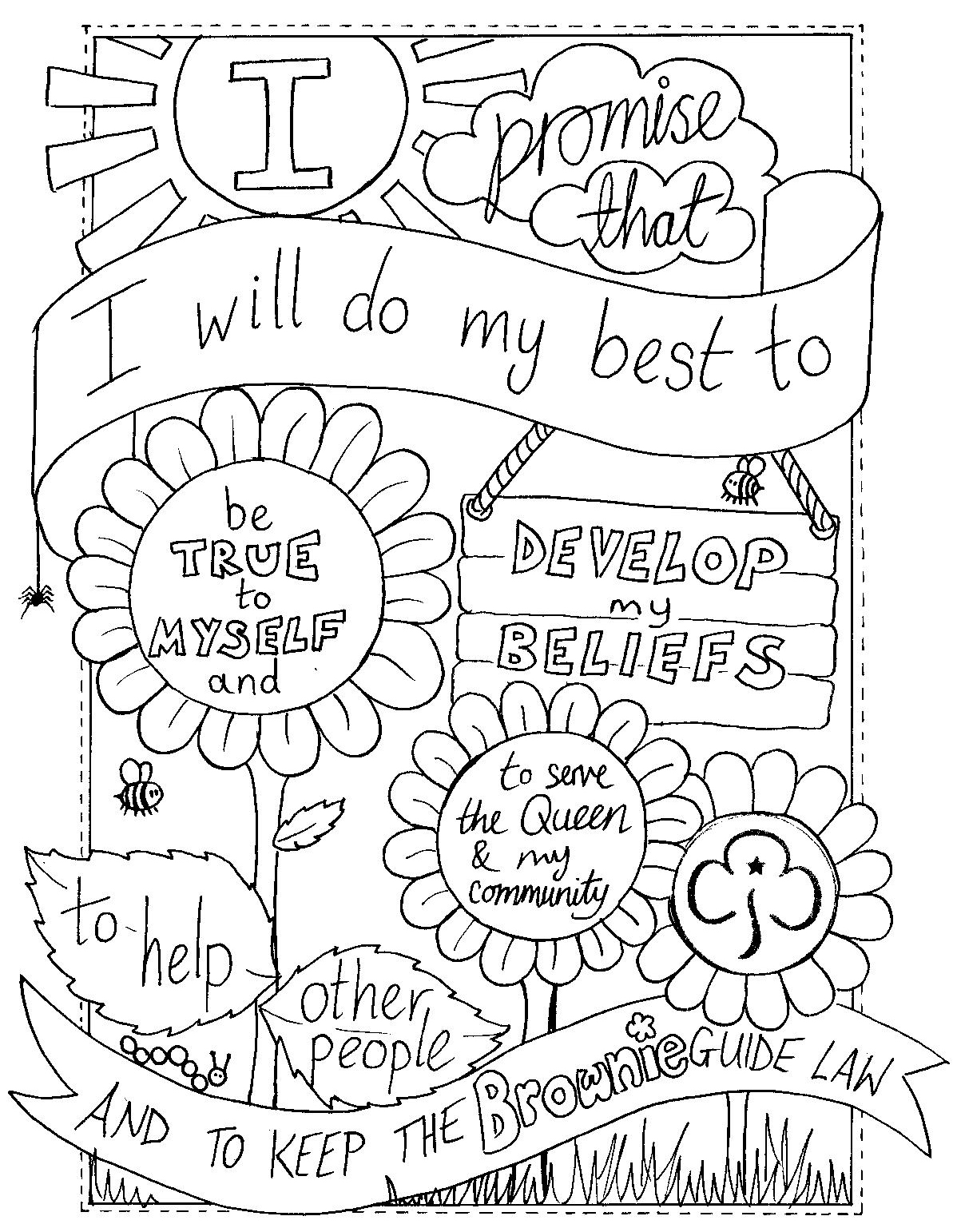 1198x1542 Girl Scout Law Coloring Pages Newyork Rp Com