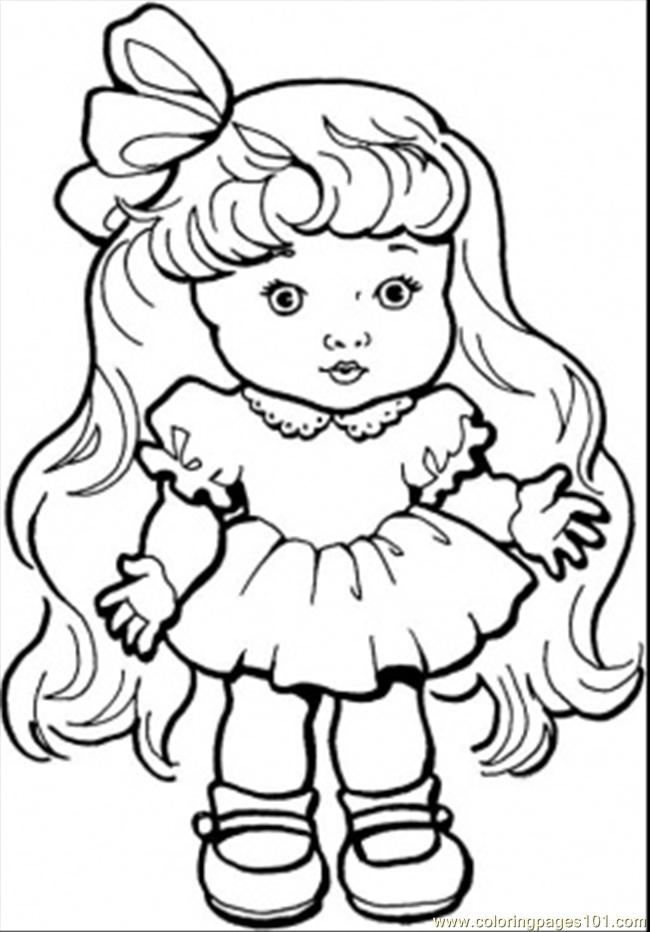 650x932 Baby Girl With Long Hair Coloring Page