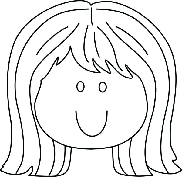 600x582 Little Girl Coloring Page Coloring Pages Little Girl Smiling Face