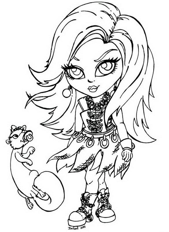 585x800 Spectra Vondergeist Little Girl Monster High Coloring Page