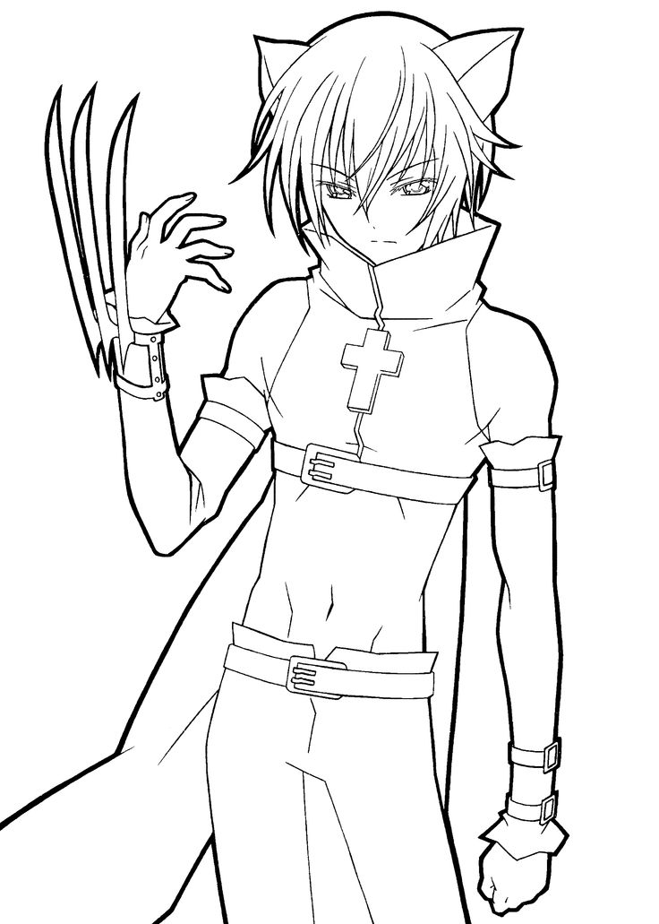 736x1031 Anime Boy Coloring Pages