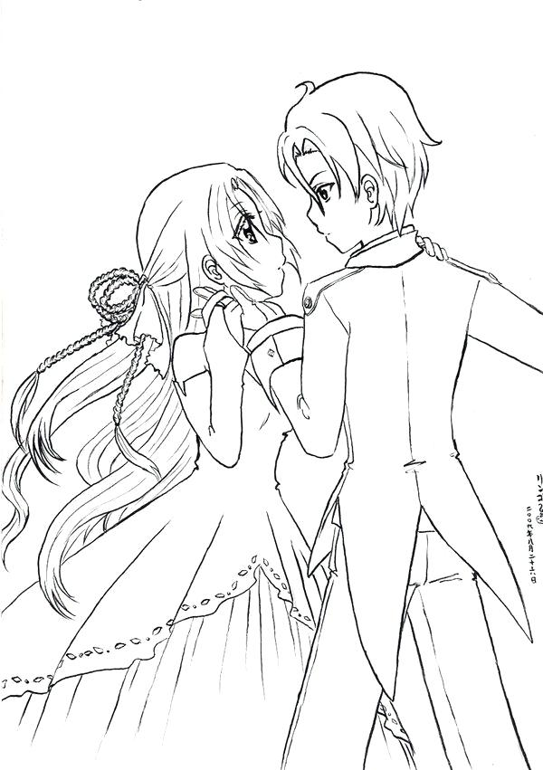 600x851 Anime Couples Coloring Pages Cutenime Couple Coloring Pages