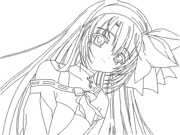 600x450 Coloring Pages Anime Girl