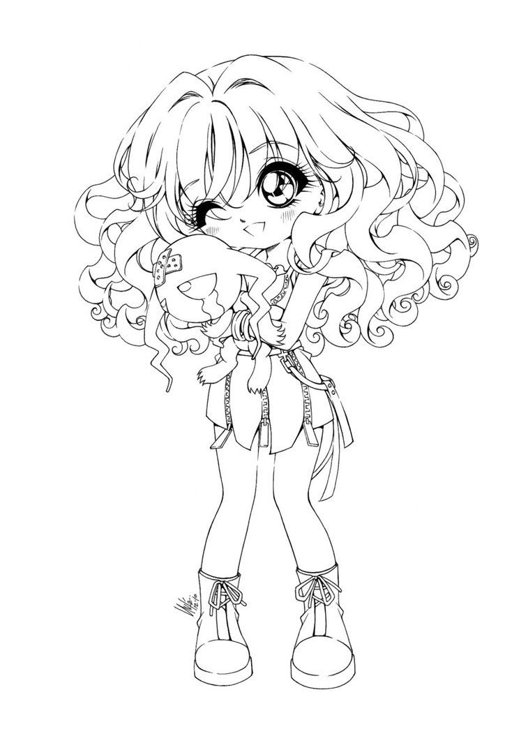 757x1055 Printable Coloring Page Cute Anime People Our Collection