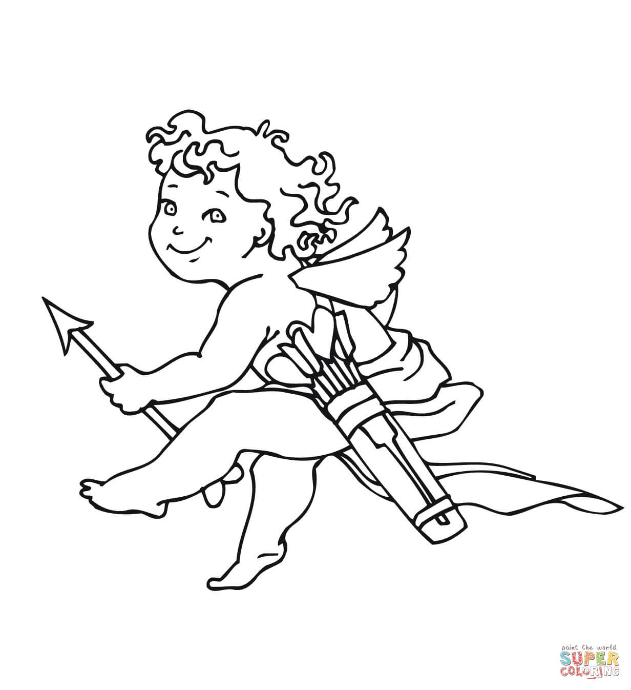 1232x1346 Cartoon Cupid Coloring Page Free Printable Pages For Valentines