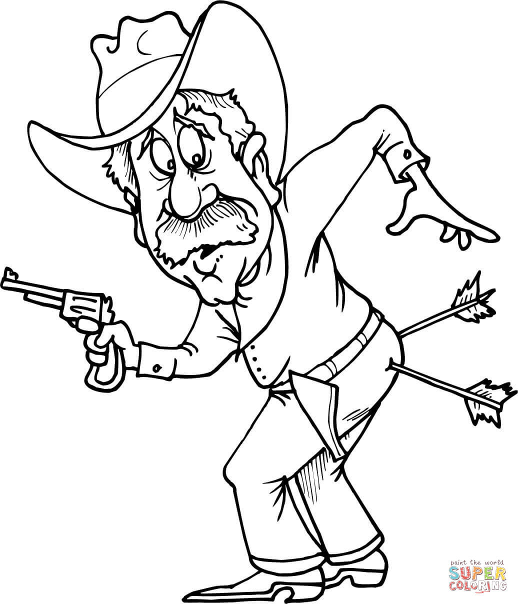 1036x1208 Cowboy With Two Arrows In Butt Coloring Page Free Printable