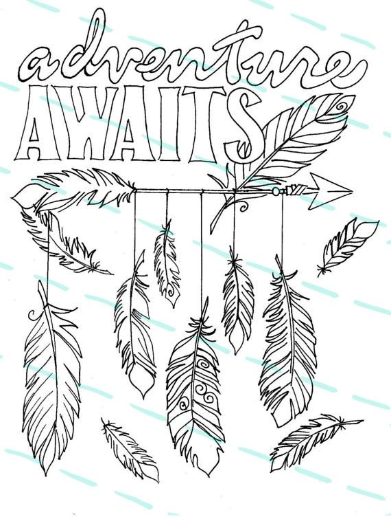 570x752 Adult Coloring Page Adventure Awaits Feathers And Arrow Design