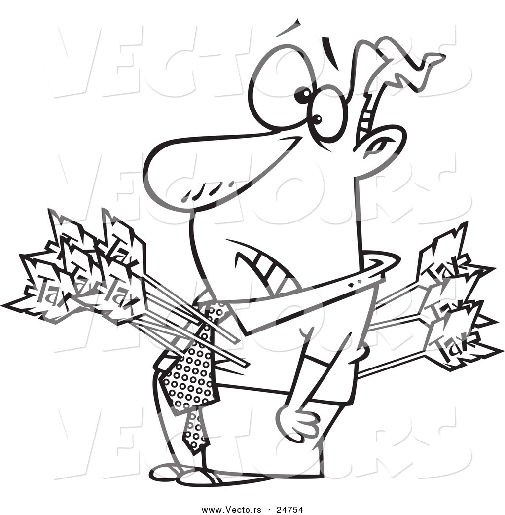 1024x1044 Vector Of A Cartoon Man Shot With Tax Arrows