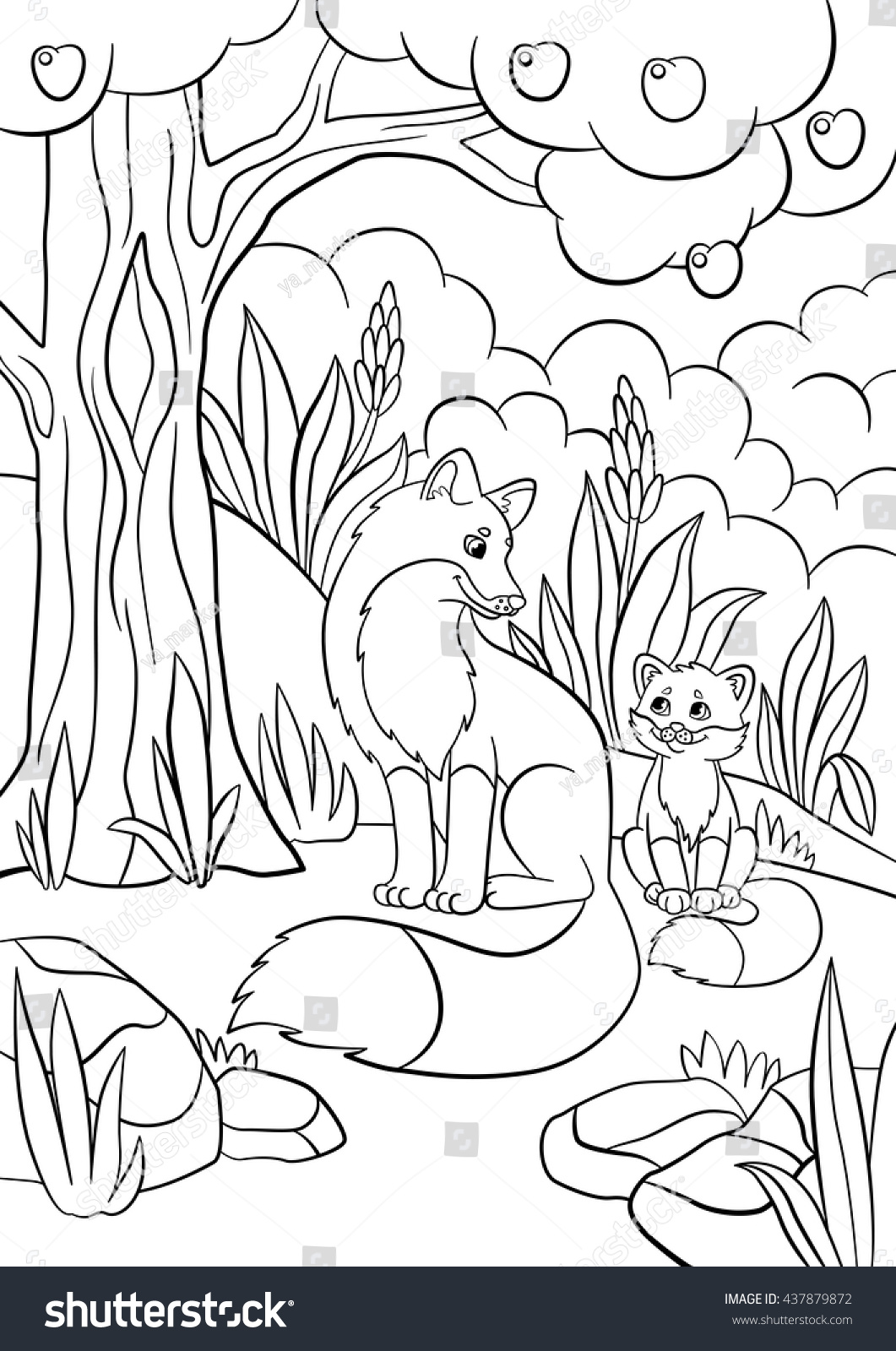 1061x1600 Energy Baby Fox Coloring Pages Wild Animals Mother Stock Vector