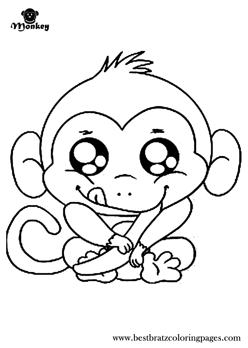 800x1120 Cute Monkeys Coloring Pages