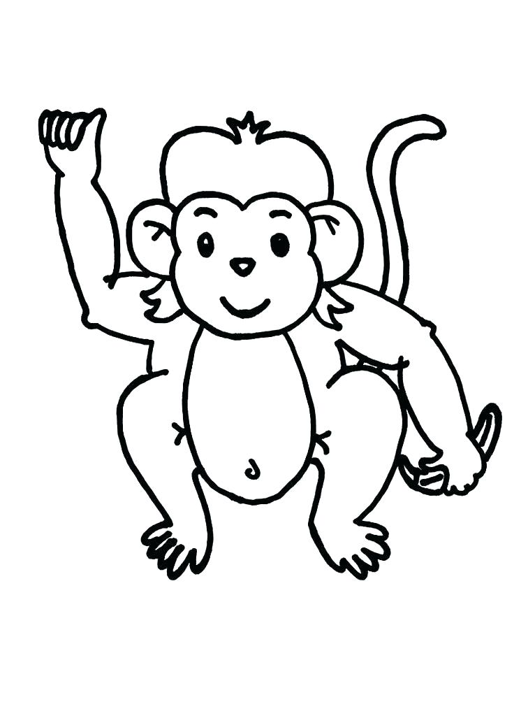 756x1004 Monkey Pictures To Color Also Cartoon Monkey Coloring Pages Cute