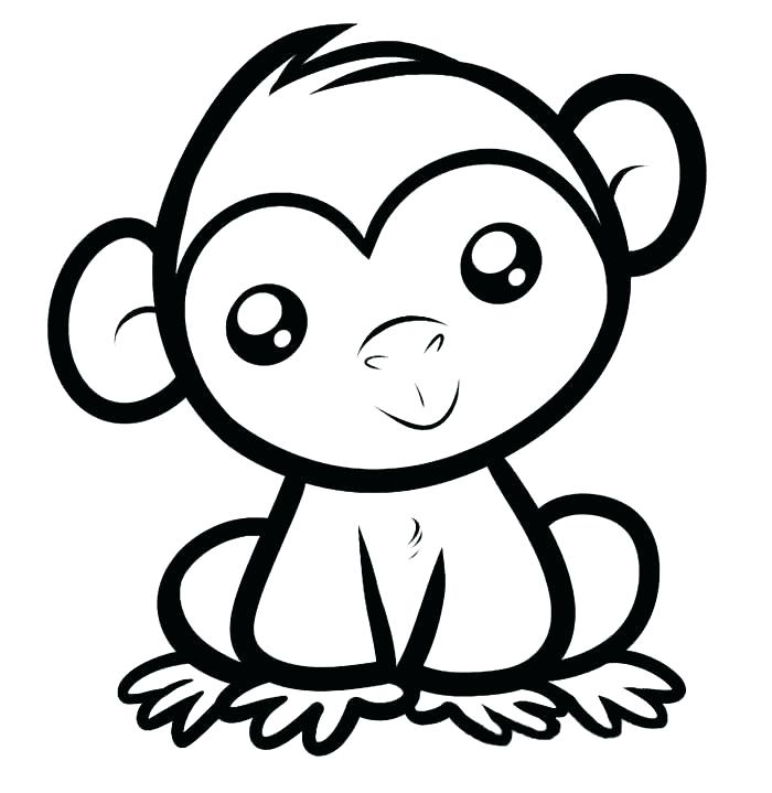 700x719 Simple Coloring Pages Baby Monkey Template Animal Colouring Pages