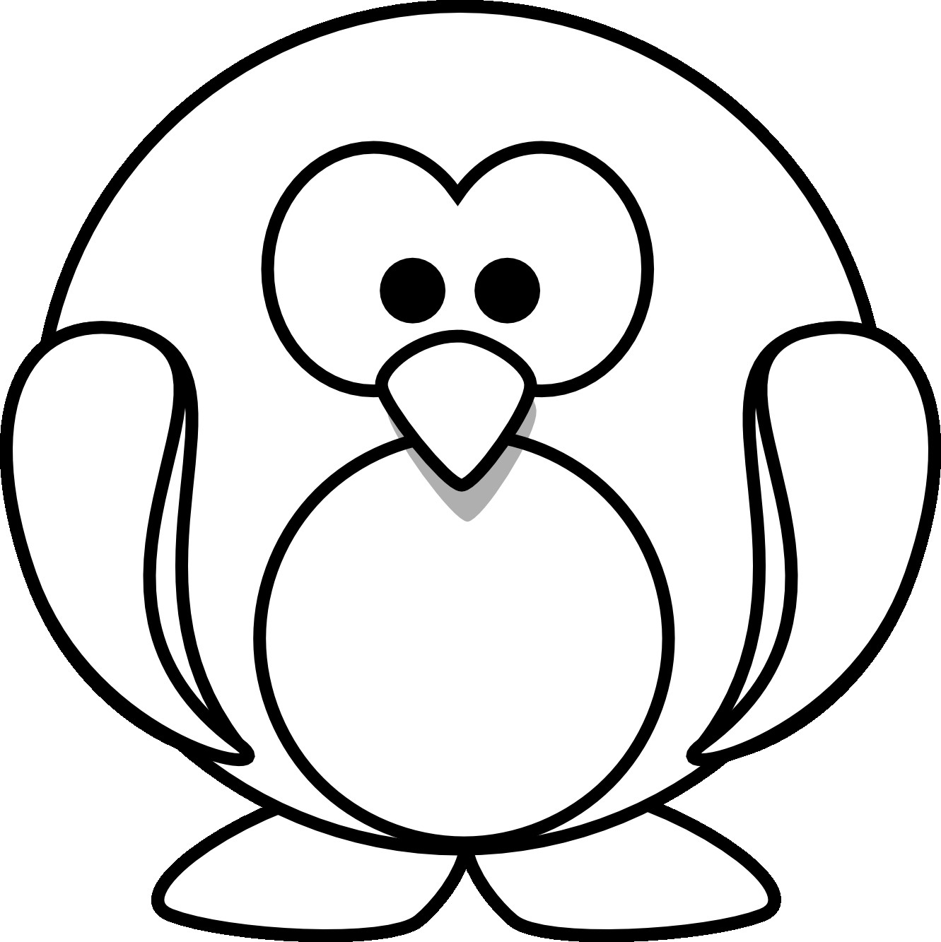 1331x1333 Cartoon Penguin Coloring Pages Free Download Clip Art Fancy Cute
