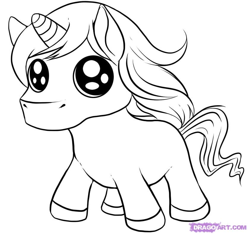 835x790 Cute Unicorn Coloring Pages