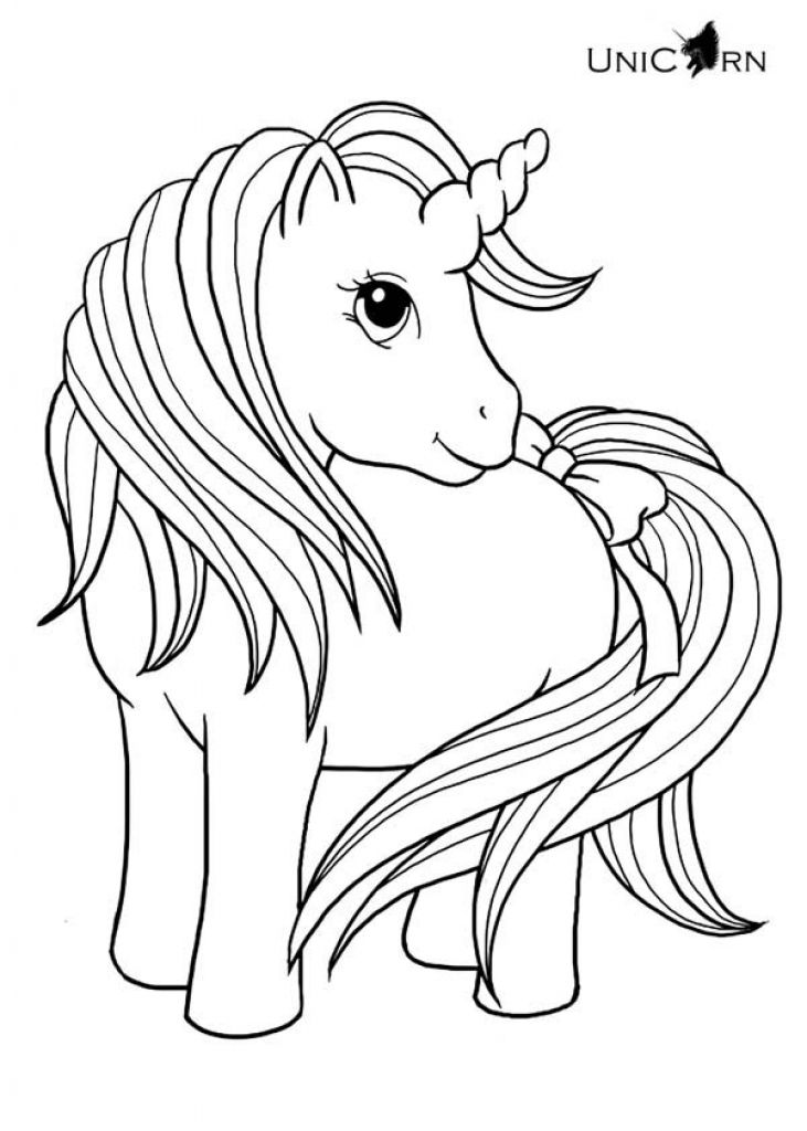 731x1024 Lovely Baby Unicorn With Long Hair And Tail Coloring Page